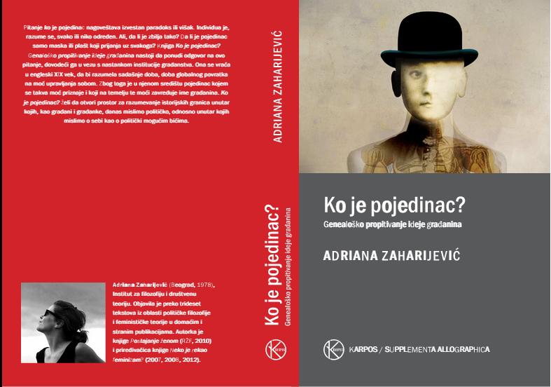"""Promocija knjige  """"Ko je pojedinac?"""" Adriane Zaharijević i razgovor sa autoricom"""