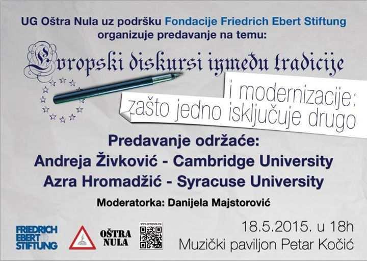 """Predavanje na temu """"Evropski diskursi između tradicije i modernizacije: zašto jedno isključuje drugo"""""""