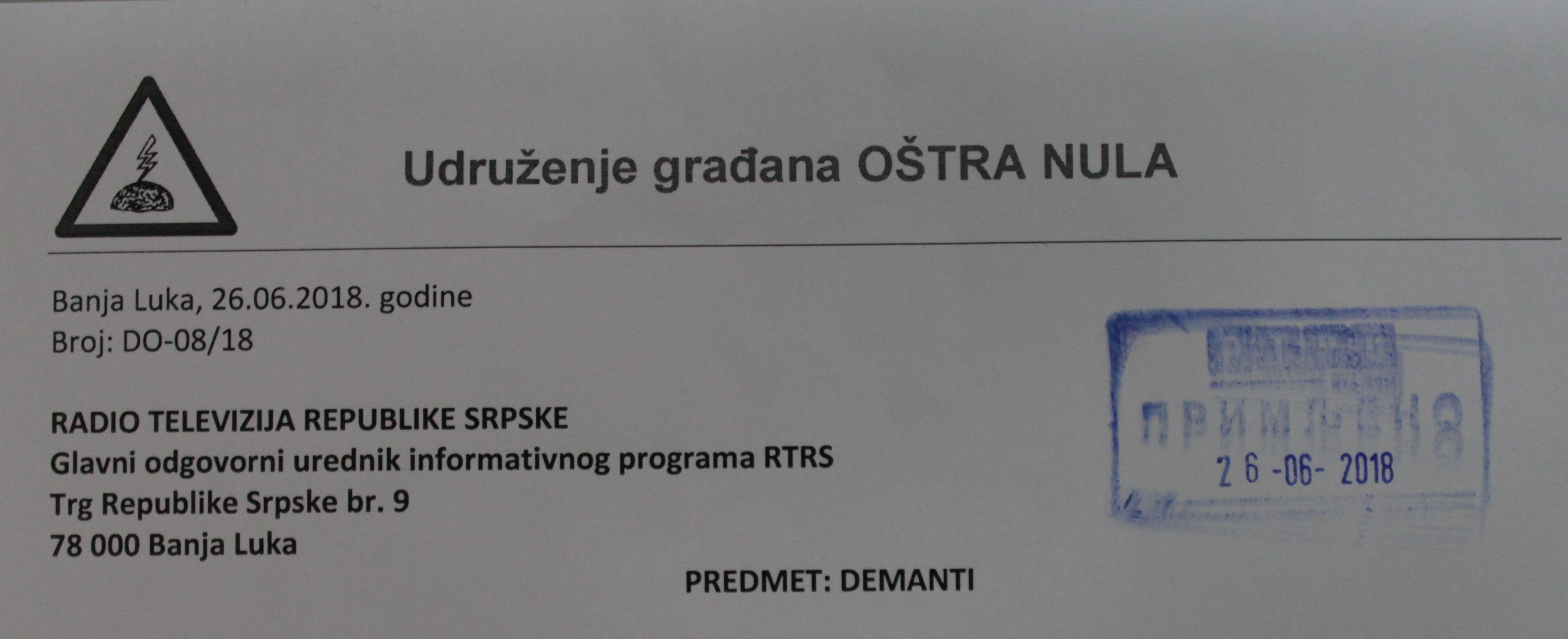 Demanti za lažne optužbe RTRS-a
